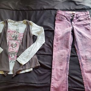 girl size 10 pink stonewashed jeans and top Justic